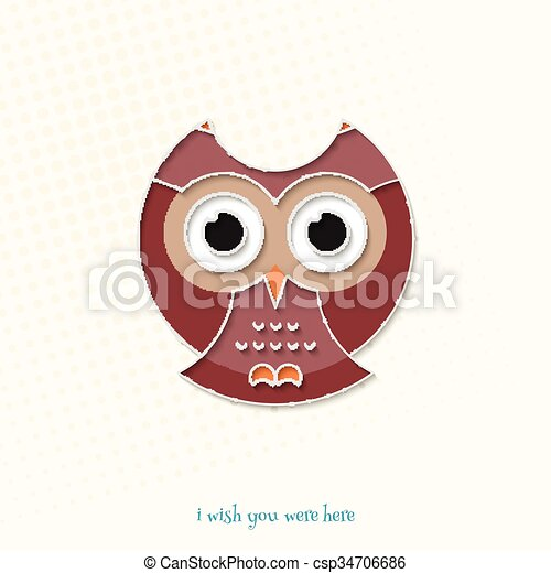 Here Owl Abstract Cartoon Style Owl Icon Isolated On White