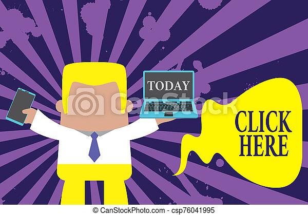 here., planchado, operación, actuación, teléfono., texto, conceptual, valor en cartera movible, izquierda, profesional, posición, hombre, derecho, computadora, ordenador portátil abierto, botón foto, señal, clic de ratón, corbata, llevar, afuera - csp76041995