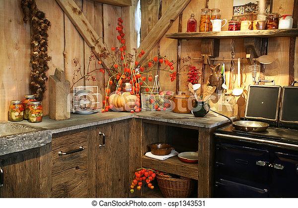herfst, keuken - csp1343531