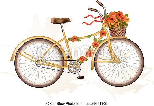 herfst, sinaasappel, flowers., fiets - csp29661105