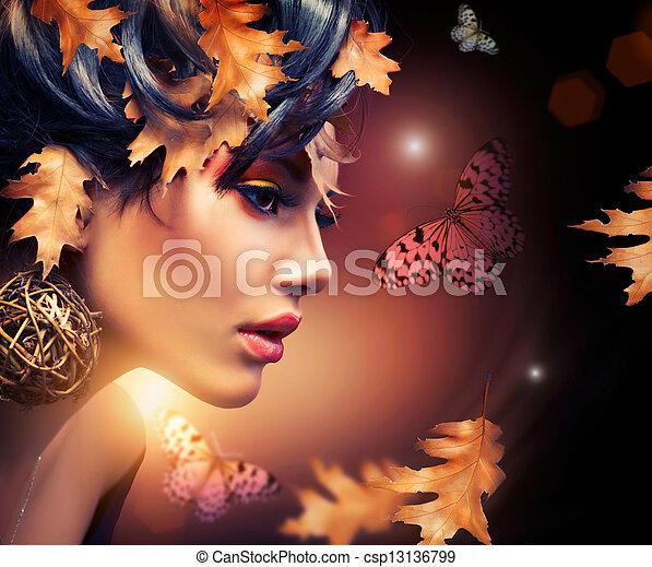 herfst, vrouw, portrait., mode, herfst - csp13136799