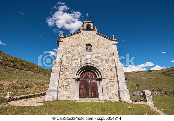 Hermitage in Palencia mountains, Castilla y Leon, Spain. - csp55054214