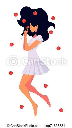 Hermosa mujer tumbada con flores - csp71635881