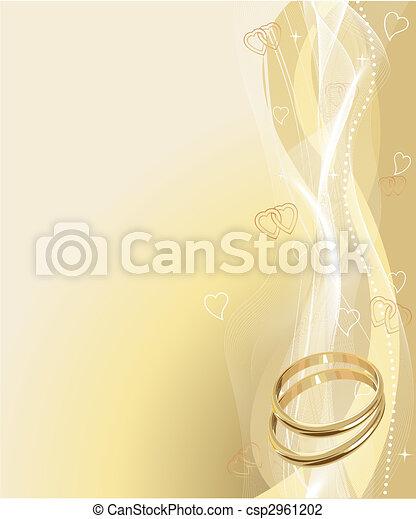 hermoso, anillos, plano de fondo, boda - csp2961202