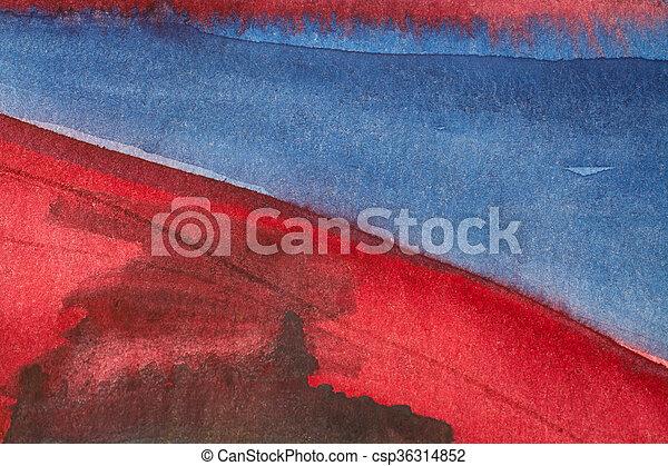 Hermosa acuarela roja azul fondo 1 - csp36314852