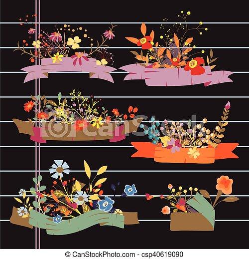 Bonitas pancartas de flores - csp40619090