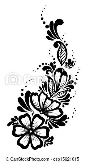 Hermoso Blanco Y Negro Elemento Diseno Retro Floral Hojas