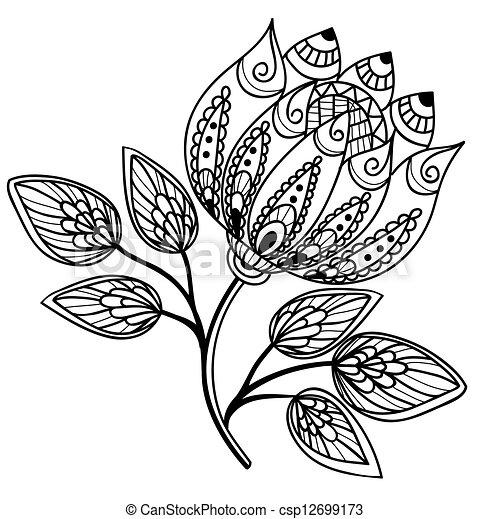 Hermoso, blanco y negro, flor, dibujo, mano ilustración con vectores ...