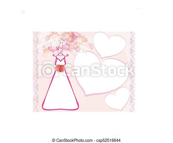 Invitación con hermoso vestido de novia. - csp52516644