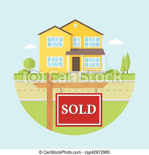 Hermosa casa americana en el fondo azul con signo SOLD - csp42972980