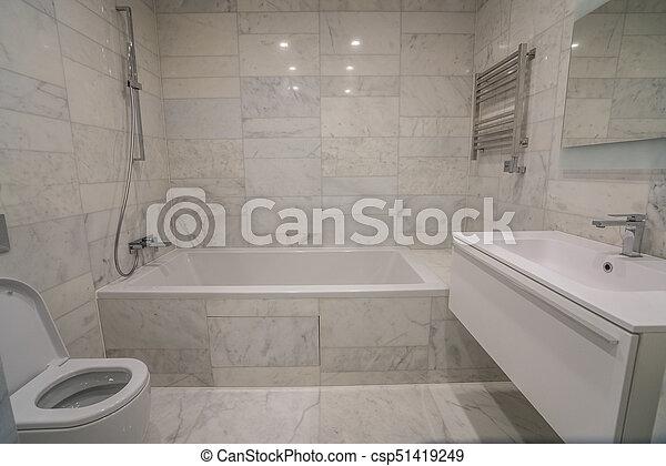 Hermoso, casa, cuarto de baño, moderno, interior.