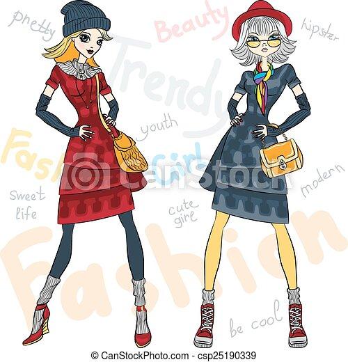Vectoras hermosas chicas de moda - csp25190339