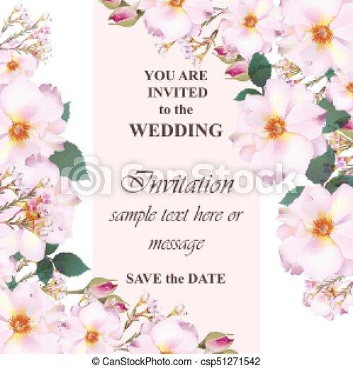 Tarjeta De Invitación De Boda Vector Floral Hermosas Flores