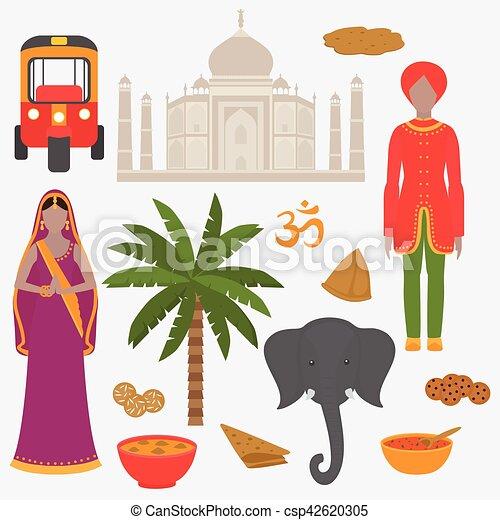 Hermoso, conjunto, elements., india, diseño, taj, set.,... clipart ...