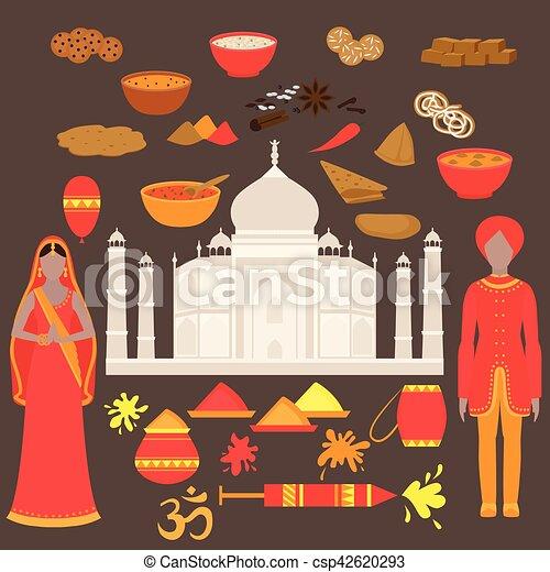 Hermoso, conjunto, holi, elements., india, diseño, taj,... vectores ...