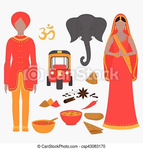 Hermoso, conjunto, holi, elements., india, símbolos, diseño ...