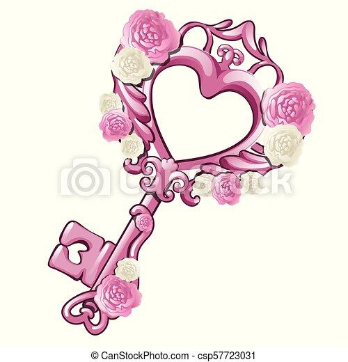 Hermosa llave vintage en la forma de un corazón rosado decorado con patrones y flores aisladas en el fondo blanco. Regalo para el amor el día de San Valentín o la boda. Ilustración de vectores de dibujos animados. - csp57723031