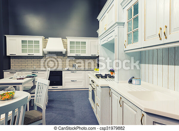Hermoso, costumbre, madera, diseño, interior, cocina. Hecho ...