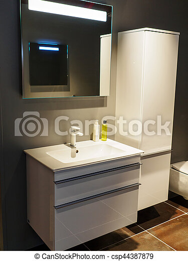 Hermoso, cuarto de baño, moderno, lujo, nuevo hogar. Hermoso ...