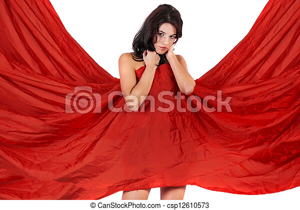 Una chica hermosa cubriéndose con un trapo rojo - csp12610573