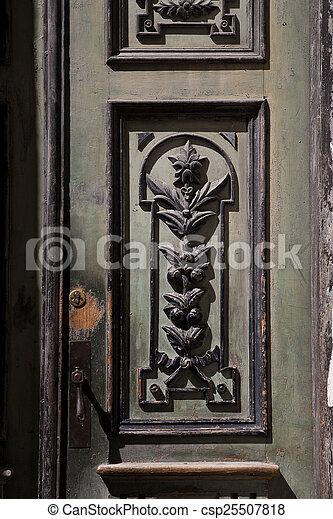 Hermoso De Madera Viejo Tallado Puertas
