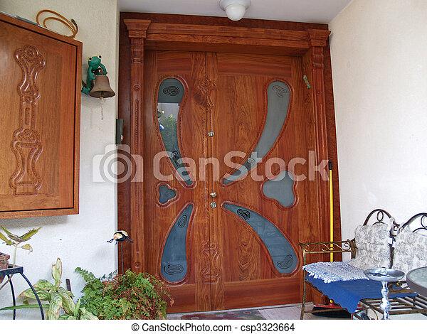 Hermoso Decorativo Puerta Mano De Madera Vidrio Tallado