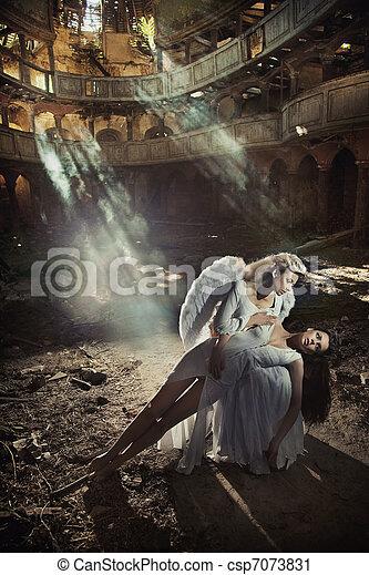 hermoso, dos, ángel, mujeres - csp7073831