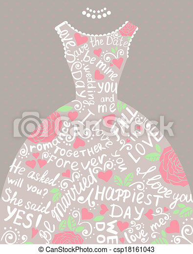 Una invitación de boda con un hermoso vestido de novia elegante. - csp18161043