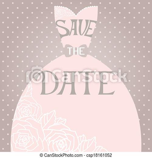 Una invitación de boda con un hermoso vestido de novia elegante - csp18161052