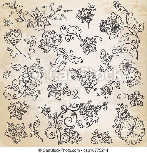 hermoso, elementos, leafs, -, mano, flores, vector, retro, ornamentos, floral, dibujado - csp10775214