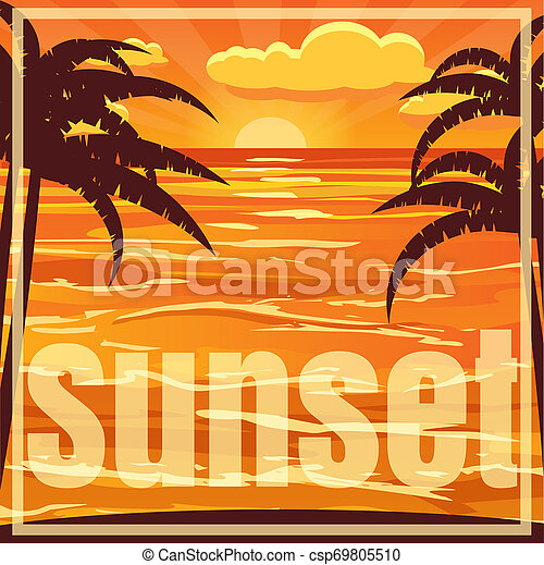 Hermoso paisaje de playa con palma. Atardecer sobre el mar, ilustración - csp69805510