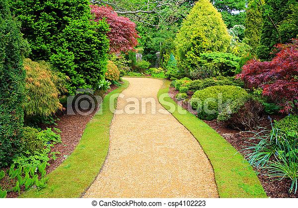 hermoso, escocia, jardín, primavera - csp4102223