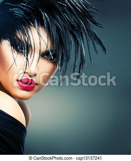 hermoso, estilo, moda, arte, girl., retrato de mujer, moda - csp13137241