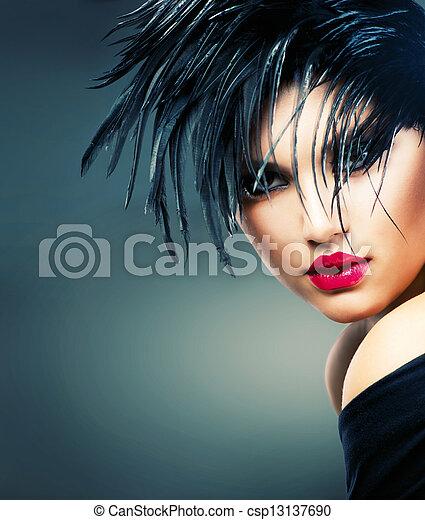 hermoso, estilo, moda, arte, girl., retrato de mujer, moda - csp13137690