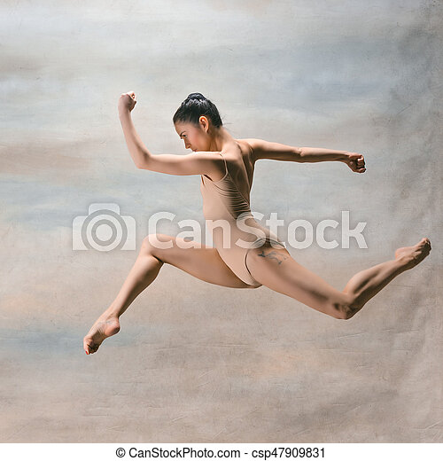 hermoso, estilo, moderno, joven, saltar, bailarín, estudio, plano de fondo - csp47909831