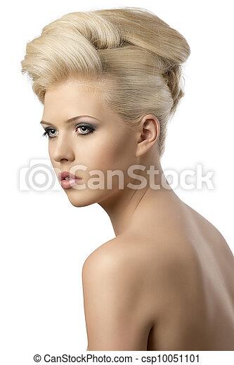 Hermoso, estilo, mujer, girado, tres, cuartos, pelo, rubio. Mujer ...