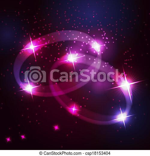 Dos anillos de boda son hermosas estrellas brillantes en el fondo del cielo cósmico - csp18153404
