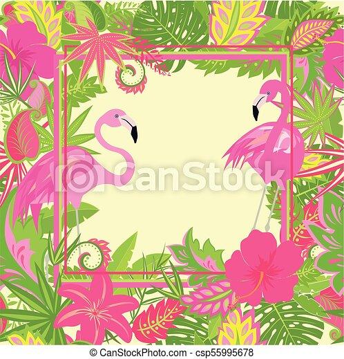 Hermoso Empapelado Hawaiano Con Flores Exóticas Hojas