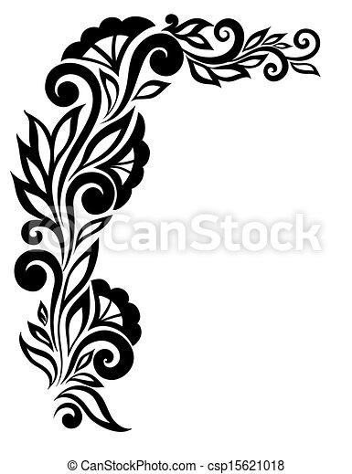 Hermosa flor de encaje blanco y negro en la esquina. Con espacio para tus mensajes y saludos. - csp15621018