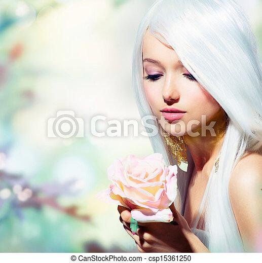 hermoso, flower., primavera, fantasía, rosa, niña - csp15361250