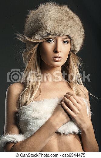 hermoso, foto, estilo, moda, rubio - csp6344475