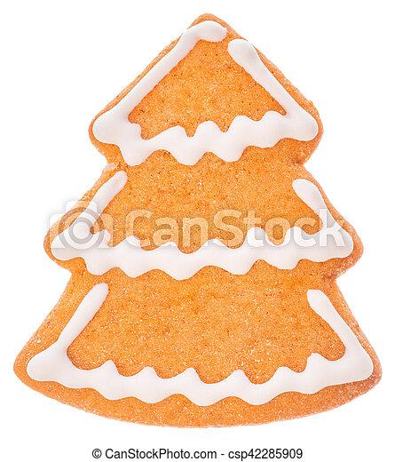 Hermosas y deliciosas galletas, árbol de jengibre de Navidad, aislado en fondo blanco - csp42285909