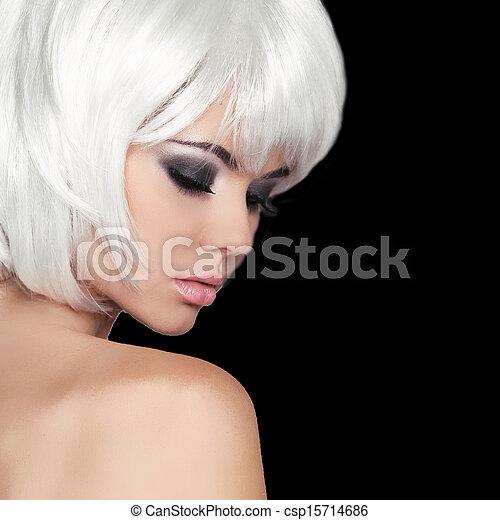hermoso, haircut., moda, hairstyle., belleza, blanco, aislado, fringe., cara, fondo., cortocircuito, negro, make-up., hair., retrato, close-up., niña, style., woman., moda - csp15714686