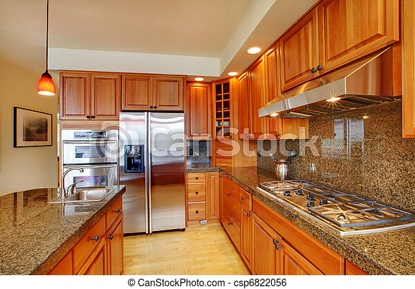 Hermoso, isla, piso, madera dura, granito, cocina. Puerto,... imagen ...