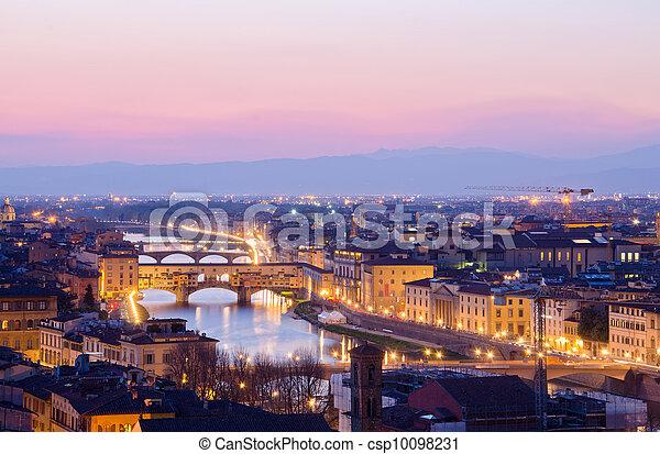 hermoso, italia, encima, ocaso, florencia, río arno - csp10098231