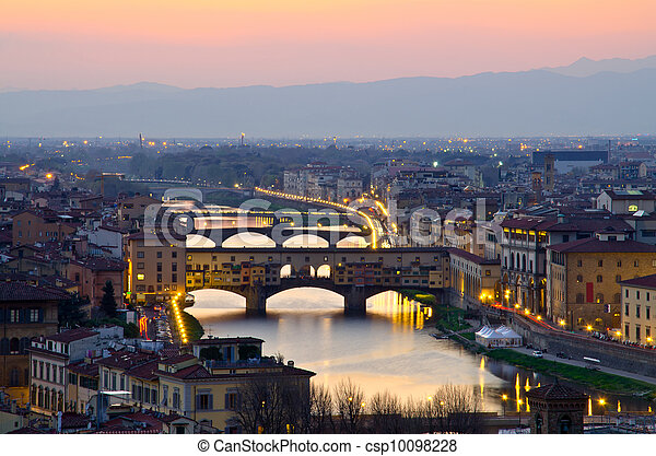 hermoso, italia, encima, ocaso, florencia, río arno - csp10098228