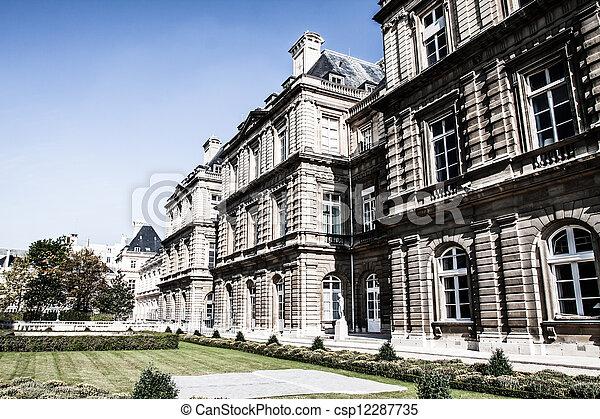 hermoso, jardín, palacio, parís, luxemburgo, francia - csp12287735