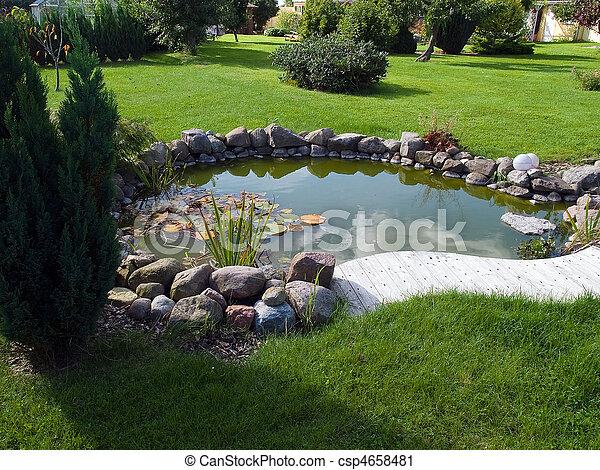 hermoso, jardinería, jardín, clásico, pez, plano de fondo, charca - csp4658481