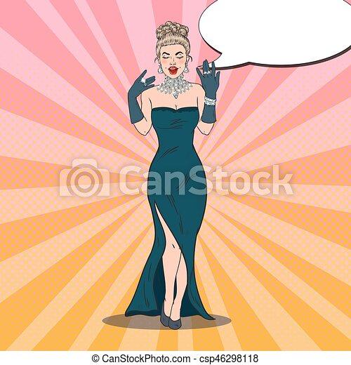 Hermosa Mujer Vestida De Negro Con Joyas De Diamantes