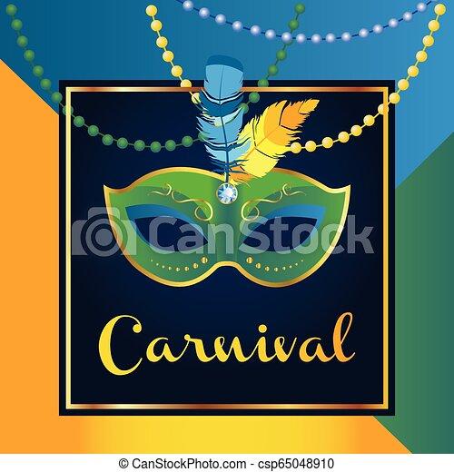 Máscara De Carnaval Con Plumas Hermoso Diseño Conceptual